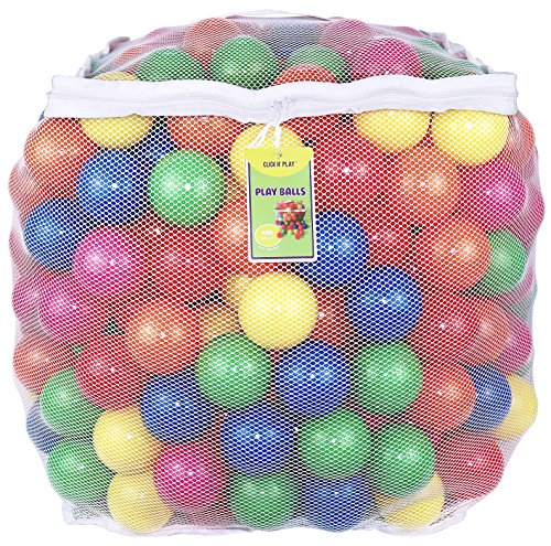 Click N' Play Value Pack of 400 Phthalate Free BPA Free Crush Proof Plastic Ball, Pit Balls – 6 Bright Colors in Reusable and Durable Storage Mesh Bag with Zipper