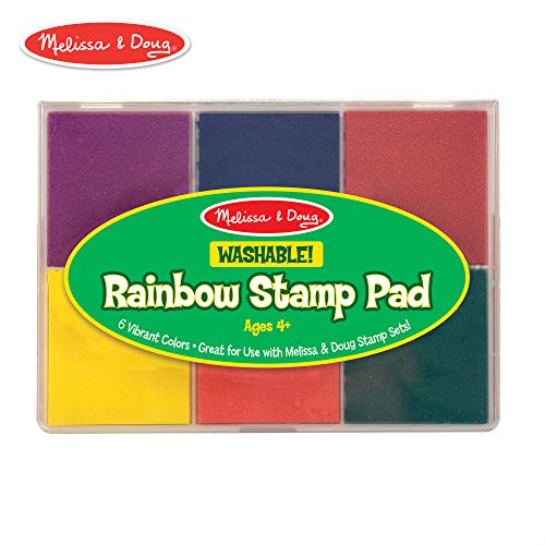 Melissa & Doug Rainbow Stamp Pad, Arts & Crafts, Multicolored Inkpad, Washable Ink, 6 Bright Colors, 6.5″ H x 4.95″ W x 0.8″ L