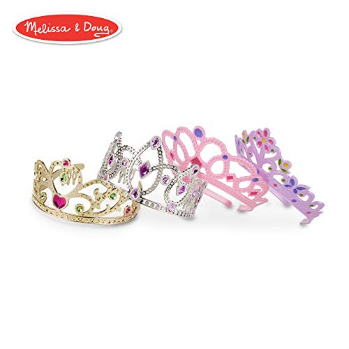Melissa & Doug Role-Play Collection Crown Jewels Tiaras, Pretend Play, Durable Construction, 4 Dress-Up Tiaras and Crowns, 12″ H x 8″ W x 5″ L