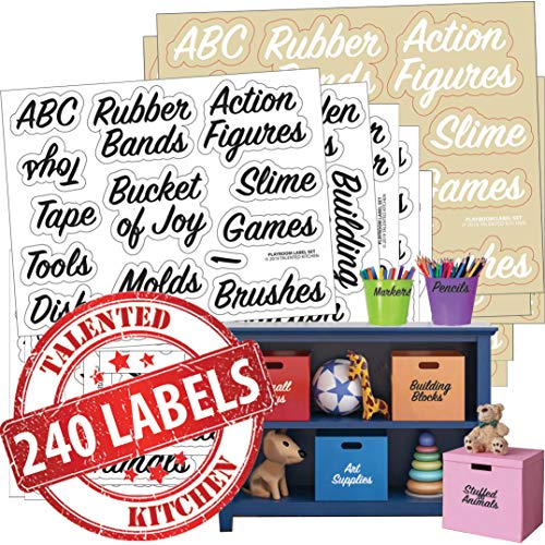 Playroom Label Set – 240 Preprinted Labels. Black and White Words on Clear Sticker (120 each), Water Resistant. Storage Organization Labels for Toys Art Supply Colors Trucks Blocks Games Boards Dolls