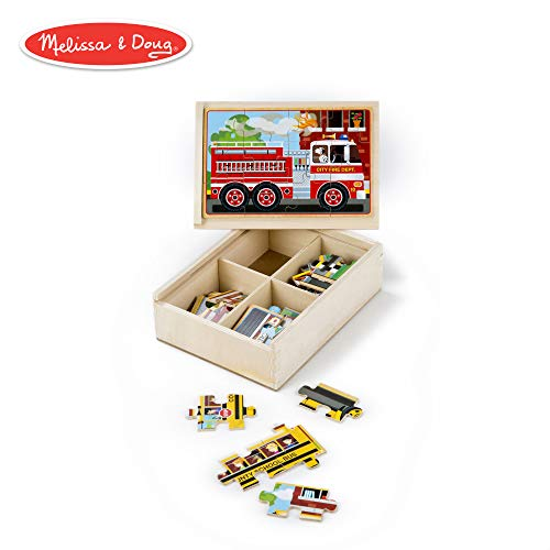 Melissa & Doug Vehicles Jigsaw Puzzles in a Box (Four Wooden Puzzles, Sturdy Wooden Storage Box, 12-Piece Puzzles, 8″ H x 6″ W x 2.5″ L)