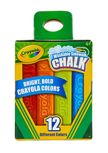 Crayola Washable Sidewalk Chalk, 12 Classic Crayola Colors Outdoor Art Gift for Kids 4 & Up, 12 Classic Crayola Colors, Anti-Roll Sidewalk Chalk Sticks Keep Little Artist's Tools Close At Hand