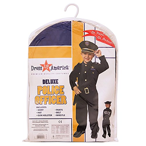 Dress Up America Deluxe Police Dress Up Costume Set – Includes Shirt, Pants, Hat, Belt, Whistle, Gun Holster and Walkie Talkie (Small)