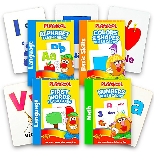 Playskool Flash Cards  – 4 Sets of Flash Cards (Alphabet, Numbers, Colors and Shapes, First Words) – Packaging May Vary