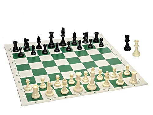 WE Games Best Value Tournament Chess Set – Plastic Chess Pieces and Green Roll-Up Vinyl Chess Board