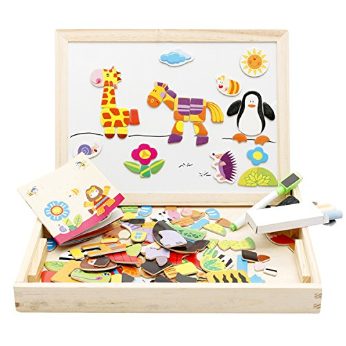 Lewo Wooden Educational Toys Magnetic Art Easel Animals Wooden Puzzles Games for Kids