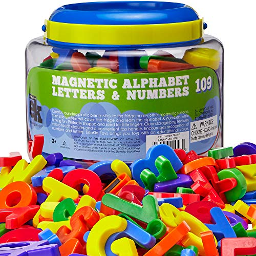 EduKid Toys ABC Magnets – 109 Magnetic Alphabet Letters & Numbers with Take Along Bucket