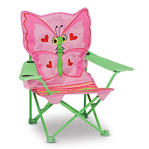 Melissa & Doug Bella Butterfly Child's Outdoor Chair (Easy to Open, Handy Cup Holder, Cleanable Materials, Carrying Bag, Great Gift for Girls and Boys – Best for 3, 4, and 5 Year Olds)
