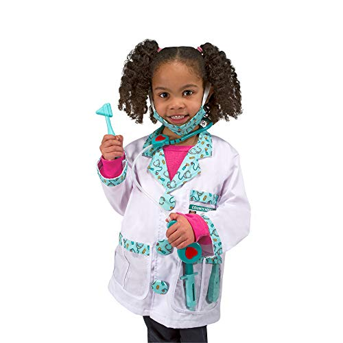 Melissa & Doug Doctor Role-Play Costume Set (Pretend Play, Materials, Machine Washable, 17.5 H × 24 W × 0.75 L inches, Great Gift for Girls and Boys – Best for 3, 4, 5, and 6 Year Olds)