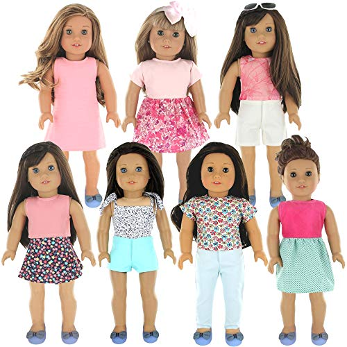 PZAS Toys 18 Inch Doll Clothes – Fits American Girl Doll Clothes with Accessories- Wardrobe Makeover, 7 Outfits