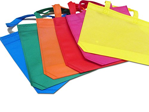 24 Pack Party Favor Tote Gift Bags with Handles – Polyester Non-Woven Material – 24 Pack – Assorted Bright Colors – Dazzling Toys …