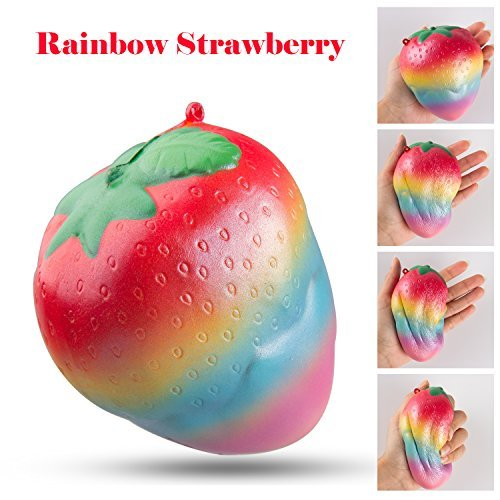 BeYumi Rainbow Strawberry Squishy Slow Rising Toy Kawaii Soft Scented Fruit Squeeze Squishies Toys for Stress Relief Kid Toys Gift Decoration Props