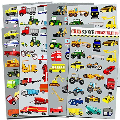 Crenstone Cars and Trucks Stickers Party Supplies Pack Toddler — Over 160  Stickers (Cars, Fire Trucks, Construction, Buses and More!)