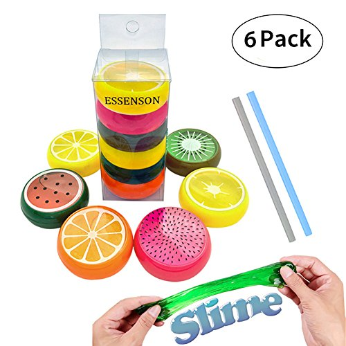 ESSENSON 28 0 Magic Crystal Slime Putty Toy Soft Rubber Fruit Slime for Kids, Students, Birthday, Party – 6 Pack with 2 Straws