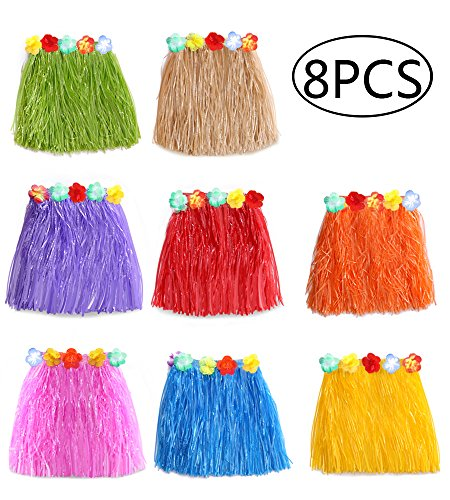 jollylife 8PCS Hawaiian Luau Hula Skirts – Grass Hibiscus Flowers Birthday Tropical Party Decorations Favors Supplies