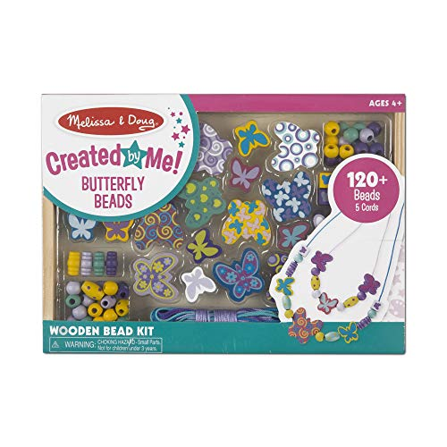Melissa & Doug Butterfly Friends Bead Set (Arts & Crafts, Handy Wooden Tray, 120 Beads and 5 Colored Cords, Great Gift for Girls and Boys – Best for 4, 5, 6, and 7 Year Olds)