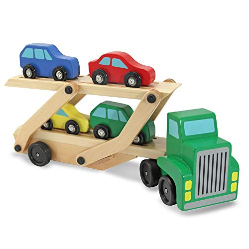 Melissa & Doug Car Carrier Truck & Cars Wooden Toy Set (Compatible with Wooden Train Tracks, Quality Wood Construction, Great Gift for Girls and Boys – Best for 3, 4, 5, and 6 Year Olds)