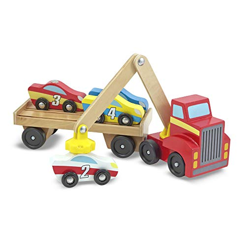 Melissa & Doug Magnetic Car Loader Wooden Toy Set, The Original (Cars & Trucks, 4 Cars and 1 Semi-Trailer Truck, Great Gift for Girls and Boys – Kids Toy Best for 3, 4, 5, and 6 Year Olds)