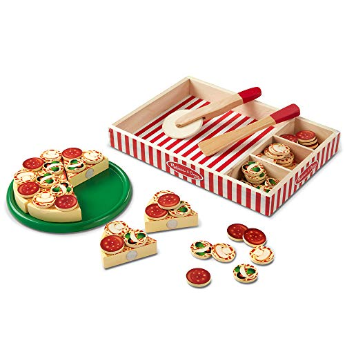 Melissa & Doug Pizza Party Wooden Play Food (Pretend Play Pizza Set, Self-Sticking Tabs, 54 +  Pieces, Great Gift for Girls and Boys – Best for 3, 4, and 5 Year Olds)