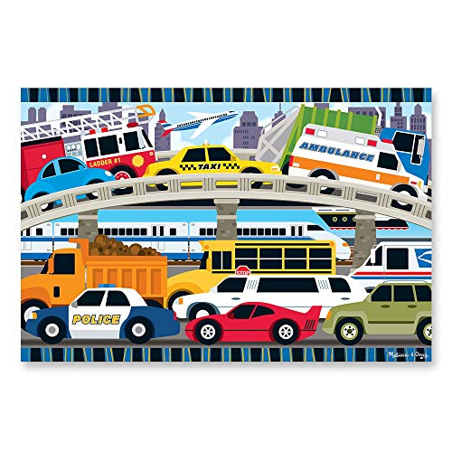 Melissa & Doug Traffic Jam Floor Puzzle (Beautiful Original Artwork, Sturdy Cardboard Pieces, 24 Pieces, 24″ L x 36″ W, Great Gift for Girls and Boys – Best for 3, 4, and 5 Year Olds)