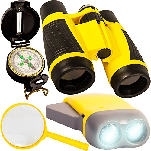 Outdoor Adventure Kit for Kids – Binoculars, Compass, Flashlight, Magnifying Glass. Young Children Explorer Camping Toy Set. Fun Backyard Nature Exploration Toys for Boys and Girls Ages 3 to 10