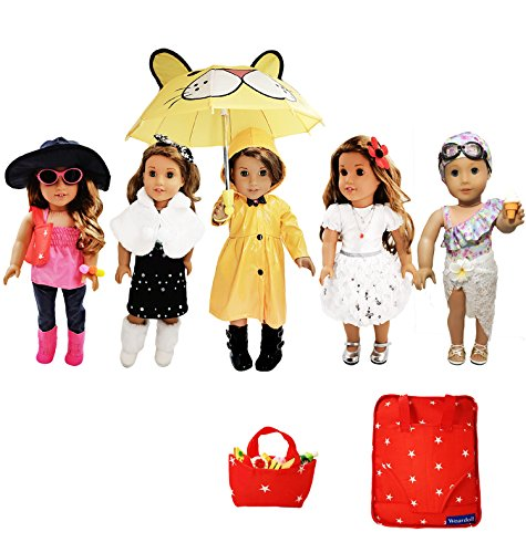 Weardoll 18 inch Doll Clothes and Accessories – 33 Items – fits American Girl Doll, Mylife Doll, Journey Girl, Generation Doll