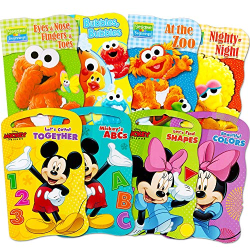 2 Set of Baby Toddler Beginnings Board Books (Sesame Street Set + Mickey Mouse and Friends Set) – Total 8 Books by Bendon