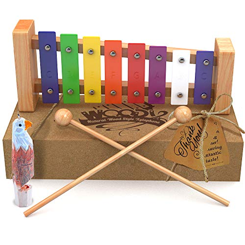 AGREATLIFE Wooden Xylophone | Child-Safe Kids Xylophone That Produces Harmonious Sound with Eagle Whistle – Well Crafted Package for The Classic Xylophone Designed for Presents