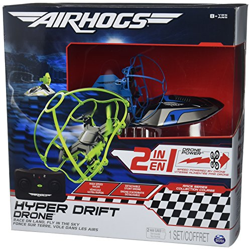 Air Hogs 2-in-1 Hyper Drift Drone for High Speed Racing and Flying – Blue