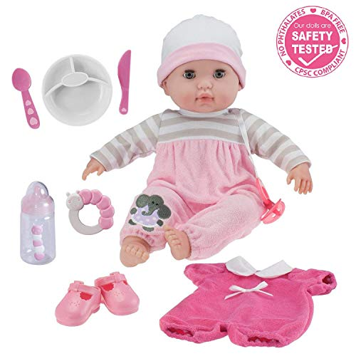 Berenguer Boutique 15″ Soft Body Baby Doll – Pink 10 Piece Gift Set with Open/Close Eyes- Perfect for Children 2+
