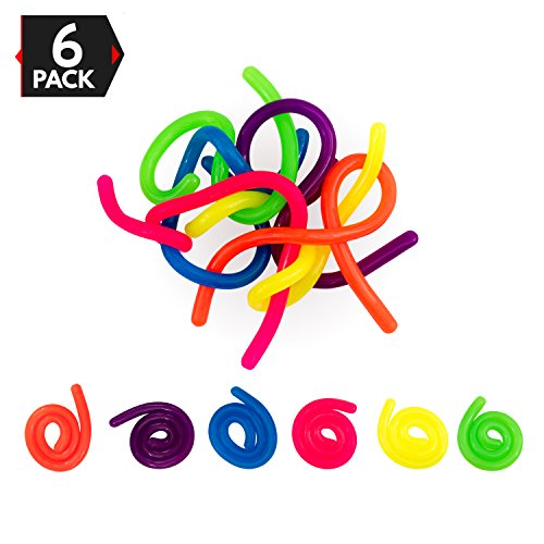 Big Mo's Toys Stress Reliever – Sensory Relief Anxiety Tactile Toy Fidget for Adults and Kids – 6 Strings