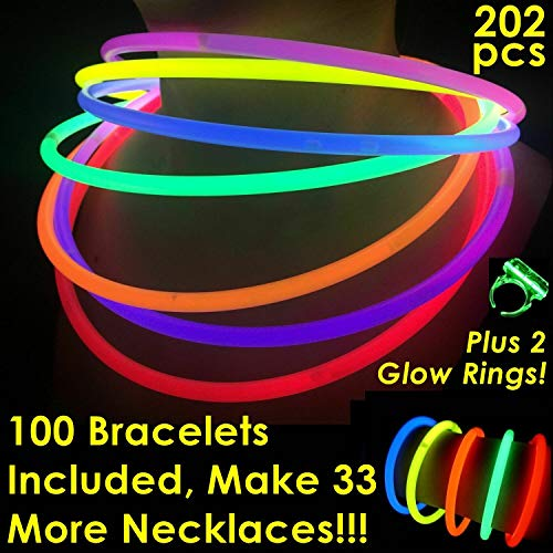 Glow Sticks Bulk Wholesale Necklaces, 100 22″ Glow Stick Necklaces+100 FREE Glow Bracelets! Bright Colors Glow 8-12 Hr, Connector Pre-attached(handy), Glow-in-the-dark Party Supplies, GlowWithUs Brand