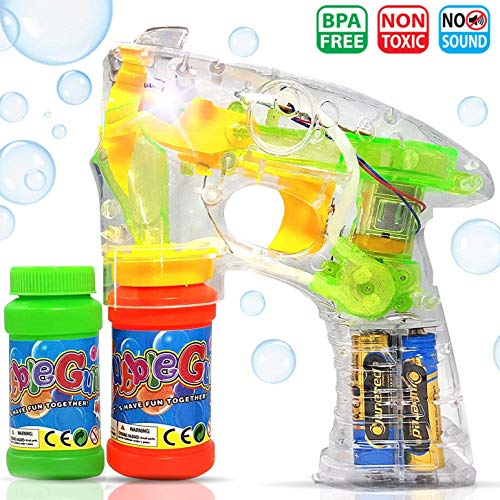 Haktoys Transparent Bubble Gun Shooter Light Up Blower Machine | Bubble Blaster for Kids, Parties, Etc. – with LED Flashing Lights, Extra Refill Bottle, Sound-Free (Batteries Included)