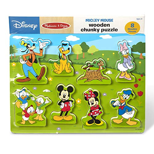 Melissa & Doug Disney Mickey Mouse Clubhouse Wooden Chunky Puzzle (8 Pieces, Great Gift for Girls and Boys – Best for 2, 3, and 4 Year Olds)