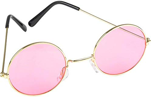 Rhode Island Novelty Round Color Lens Sunglasses 1 Pair of Pink Glasses