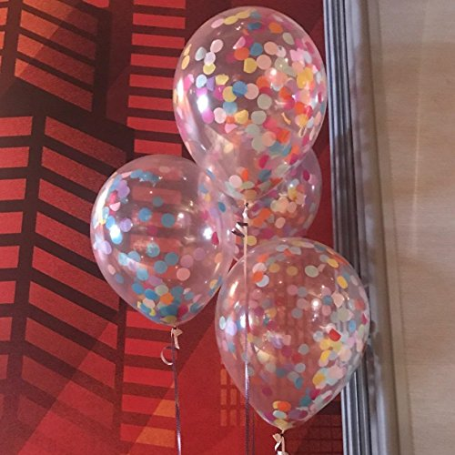 """12"""" Rainbow Bright Confetti Balloons for Party Decoration (Pack Of 12)"""
