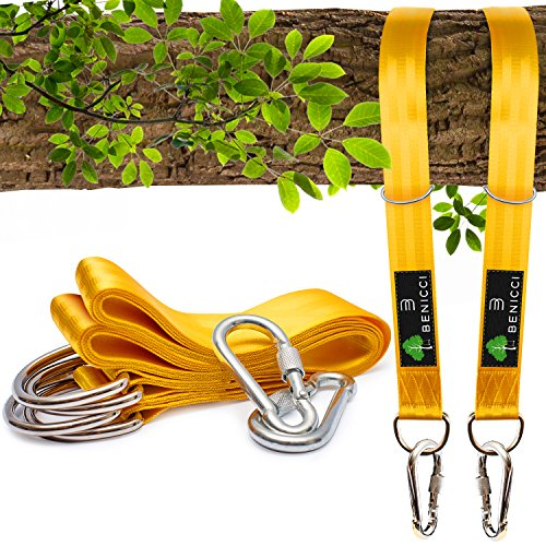 Benicci Tree Swing Straps Hanging Kit (Set of 2) – 10ft Long with Two Zinc Alloy Carabiners – 2000Lbs Break Strength – for All Type of Swings – Easy & Fast Installation