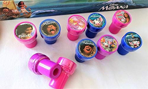 Disney 10 pcs Moana Self-Inking Stamps Stampers Pencil Topper Authentic Licensed
