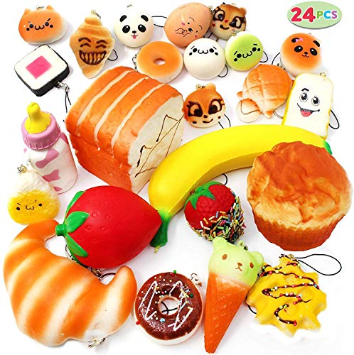 JOYIN Squishies 24 Pieces Slow Rising Scented Squishy Foods – Jumbo Medium Mini Soft Panda Doughnut Buns Cake Bread Muffin Phone Key Chain Straps Set for Christmas Stocking Stuffers